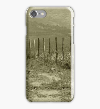 Barbed Wire Fence in a Field iPhone Case/Skin