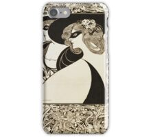 William Bradley -  Masquerade Poster. Woman portrait: sensual woman,  Masquerade ,  Poster, face, femine, beautiful dress, mask, hair, flower, hat, curls iPhone Case/Skin