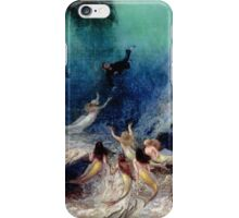 William Holbrook Beard -  A Sailor S Delight. Sea landscape: sea view,  A Sailor S Delight,  A Sailor S Delight, mermaid, mermaid, waves , marin, seascape, Woman, fish, ocean iPhone Case/Skin