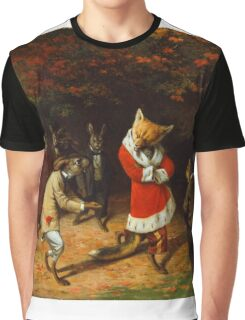 William Holbrook Beard - His Majesty Receives 1885. animals portrait: beasts, animals, foxes, hamster, Majesty, hares, costume, bathrobe, forest, trees, fantasy Graphic T-Shirt