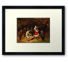 William Holbrook Beard - His Majesty Receives 1885. animals portrait: beasts, animals, foxes, hamster, Majesty, hares, costume, bathrobe, forest, trees, fantasy Framed Print