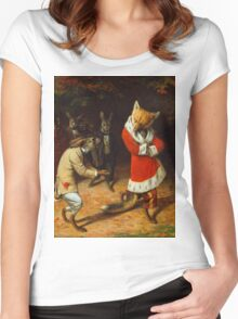 William Holbrook Beard - His Majesty Receives 1885. animals portrait: beasts, animals, foxes, hamster, Majesty, hares, costume, bathrobe, forest, trees, fantasy Women's Fitted Scoop T-Shirt