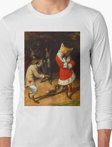 William Holbrook Beard - His Majesty Receives 1885. animals portrait: beasts, animals, foxes, hamster, Majesty, hares, costume, bathrobe, forest, trees, fantasy Long Sleeve T-Shirt
