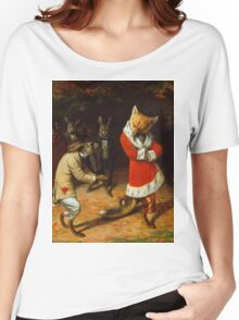 William Holbrook Beard - His Majesty Receives 1885. animals portrait: beasts, animals, foxes, hamster, Majesty, hares, costume, bathrobe, forest, trees, fantasy Women's Relaxed Fit T-Shirt