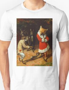 William Holbrook Beard - His Majesty Receives 1885. animals portrait: beasts, animals, foxes, hamster, Majesty, hares, costume, bathrobe, forest, trees, fantasy Unisex T-Shirt