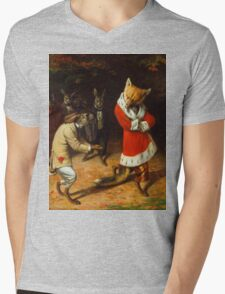 William Holbrook Beard - His Majesty Receives 1885. animals portrait: beasts, animals, foxes, hamster, Majesty, hares, costume, bathrobe, forest, trees, fantasy Mens V-Neck T-Shirt