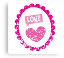 Cute love heart cameo distressed version Canvas Print