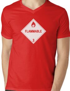 HAZMAT Class 3: Flammable Mens V-Neck T-Shirt