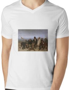 William Holbrook Beard - The Discovery Of Adam. animals portrait: party, animals, beasts, monkey, turtle, bird, costume, hat,  Discovery ,  Adam, fantasy Mens V-Neck T-Shirt