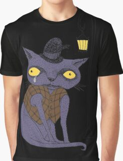 Sad Cat with Moonlight Memories Graphic T-Shirt