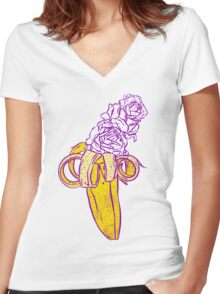 floral banana Women's Fitted V-Neck T-Shirt