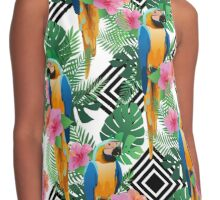 Exotic hibiscus flowers, parrot ara and palm leaves. Contrast Tank
