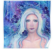 Fantasy portrait with flowers art by Renee Lavoie Poster
