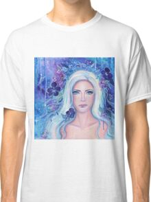 Fantasy portrait with flowers art by Renee Lavoie Classic T-Shirt