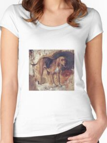 William Holman Hunt - Study Of A Bloodhound. Dog painting: cute dog, dogs, doggy, lucky, pets, wild life, animal, smile, little small, kids, nature Women's Fitted Scoop T-Shirt