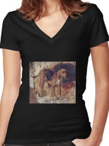 William Holman Hunt - Study Of A Bloodhound. Dog painting: cute dog, dogs, doggy, lucky, pets, wild life, animal, smile, little small, kids, nature Women's Fitted V-Neck T-Shirt