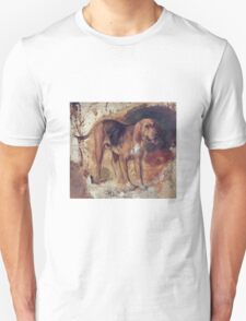 William Holman Hunt - Study Of A Bloodhound. Dog painting: cute dog, dogs, doggy, lucky, pets, wild life, animal, smile, little small, kids, nature Unisex T-Shirt