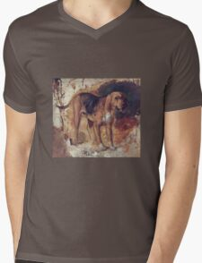 William Holman Hunt - Study Of A Bloodhound. Dog painting: cute dog, dogs, doggy, lucky, pets, wild life, animal, smile, little small, kids, nature Mens V-Neck T-Shirt