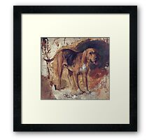 William Holman Hunt - Study Of A Bloodhound. Dog painting: cute dog, dogs, doggy, lucky, pets, wild life, animal, smile, little small, kids, nature Framed Print