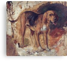 William Holman Hunt - Study Of A Bloodhound. Dog painting: cute dog, dogs, doggy, lucky, pets, wild life, animal, smile, little small, kids, nature Canvas Print