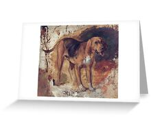 William Holman Hunt - Study Of A Bloodhound. Dog painting: cute dog, dogs, doggy, lucky, pets, wild life, animal, smile, little small, kids, nature Greeting Card