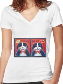 Good Dog-Bad Dog Women's Fitted V-Neck T-Shirt