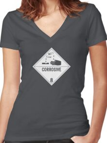 HAZMAT Class 8: Corrosive Women's Fitted V-Neck T-Shirt