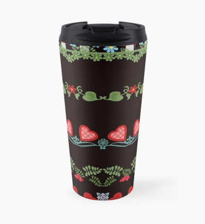Seamless pattern with hearts, flowers and mushrooms on white background Travel Mug