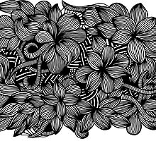 Prints of Gardens #1(Flower and Lines) hand drawn art by martywoodskk