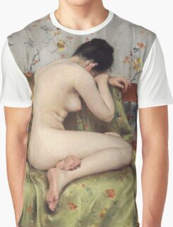 William Merritt Chase - A Modern Magdalen. Woman portrait: sensual woman, model, nude, chest, young, silk,  Magdalen, Modern, love, sexy lady, erotic pose Graphic T-Shirt