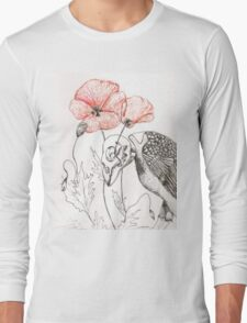 Sparrow Skeleton with Poppies Long Sleeve T-Shirt