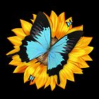 Blue Butterfly And Sunflower Tote Bag / Throw Pillow by Moonlake