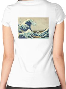 Hokusai, The Great Wave off Kanagawa, Japan, Japanese, Wood block, print Women's Fitted Scoop T-Shirt