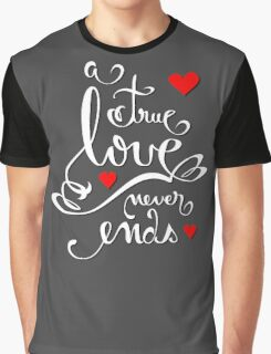 Valentine Love Calligraphy and Hearts V2 Tee  Graphic T-Shirt