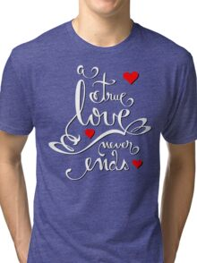 Valentine Love Calligraphy and Hearts V2 Tee  Tri-blend T-Shirt