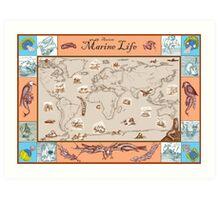 Ancient Marine Life map Art Print