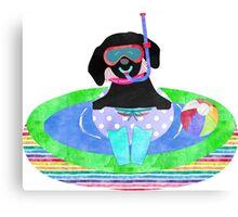 Whimsical Preppy Black Lab Summer Fun Canvas Print