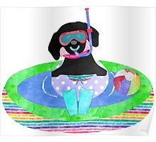 Whimsical Preppy Black Lab Summer Fun Poster