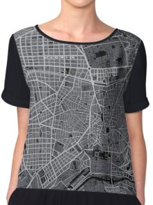 Madrid city map engraving Chiffon Top