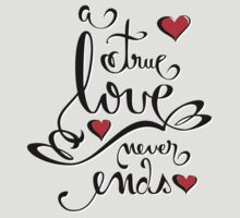 Valentine Love Calligraphy and Hearts Tee by ruxique