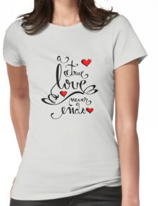 Valentine Love Calligraphy and Hearts Tee Womens Fitted T-Shirt