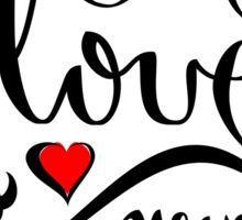 Valentine Love Calligraphy and Hearts Tee Sticker
