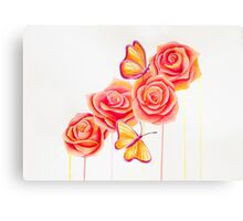 Butterflies and Roses Canvas Print