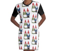 Gnome Couple, Man and Wife, Hand Drawn Gnomes Graphic T-Shirt Dress
