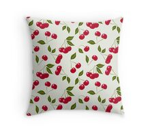 seamless pattern cherry red Throw Pillow