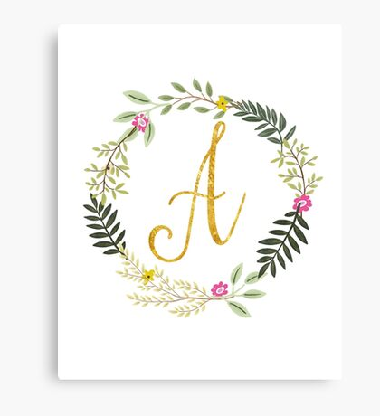 Floral and Gold Initial Monogram A Canvas Print