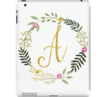 Floral and Gold Initial Monogram A iPad Case/Skin