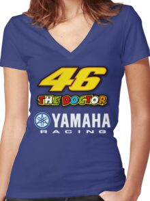 """Valentino Rossi """"The Doctor"""" Yamaha Racing Team Women's Fitted V-Neck T-Shirt"""