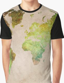 Green World Map ecology Graphic T-Shirt