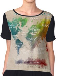 World Map Oceans and Continents Chiffon Top